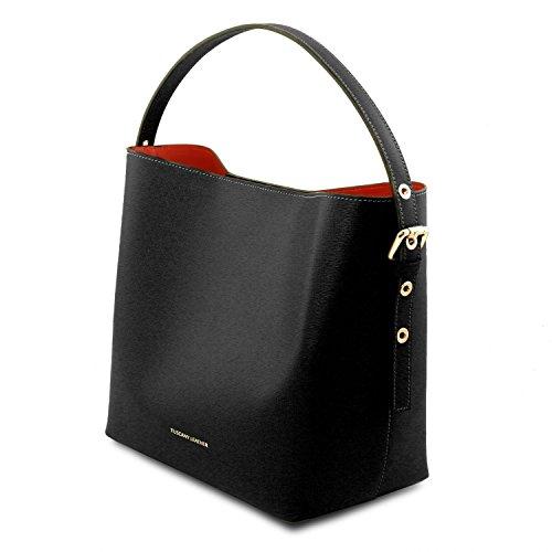 Tuscany Leather Arianna - Borsa secchiello da donna in pelle Saffiano con pochette interna - TL141613 (Nero) Nero