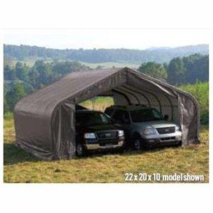 ShelterLogic Peak Style Double Wide Garage/Storage Shelter - Green, 28ft.L x 22ft.W x 11ft.H, 2 3/8in. Frame, Model# 78741