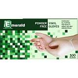 Emerald VN9705-B Vinyl Gloves, Latex Free, Dispenser box of 100, Size SMALL
