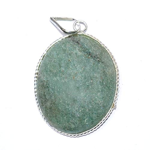 Reiki Crystal Products Green Jade Oval Shape Pendant Natural Stone for Reiki Healing and Meditation, Protection, Concentration, Spirituality