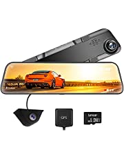 """WOLFBOX 12"""" 2.5K Mirror Dash Cam for Cars & Trucks, 1440P Front and 1080P Rear FHD DashCam, Waterproof Backup Camera Rear View Mirror Camera, Enhanced Night Vision with Sony IMX415 Sensor, Parking Assistance, GPS"""