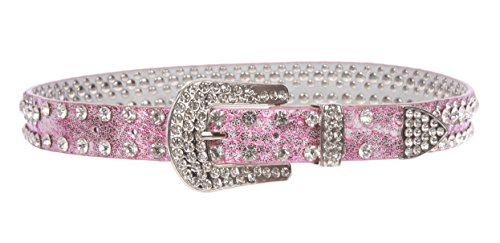 Kids 1 1/16'' (27 mm) Western Cowgirl Rhinestone Studded Skinny Belt, Hot Pink | 24'' by beltiscool (Image #1)