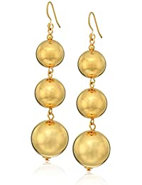 Women's Polished Gold 3 Small To Large Bead Drop Fishook Top Ear Earrings