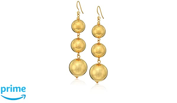 Amazon.com: Kenneth Jay Lane Polished Gold-Tone 3 Ball Drop Earrings: Jewelry