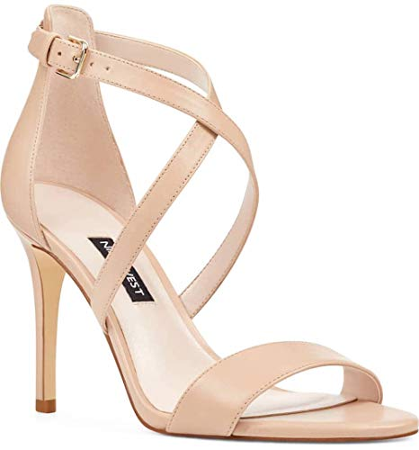 (Nine West Womens Mydebut Open Toe Special Occasion Ankle Strap, Tan, Size 6.0)