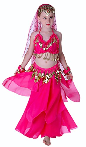 Seawhisper Belly Dancing Girls Costume Halloween Costumes Harm Pants for 10 12 Pink (Belly Dancing Costume For Kids)