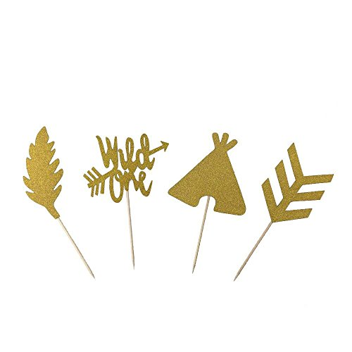 Price comparison product image Glitter Gold Wild One Feather Arrow Teepee Cake Cupcake Toppers Picks for First One Birthday Boho Tribal Theme Party Decorations 24 PCS