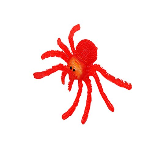 Tinksky Fake Spider TPR Super Stretchy Practical Jokes Props Realistic Rubber Spider for Prank Halloween children's party Decoration (Red) -