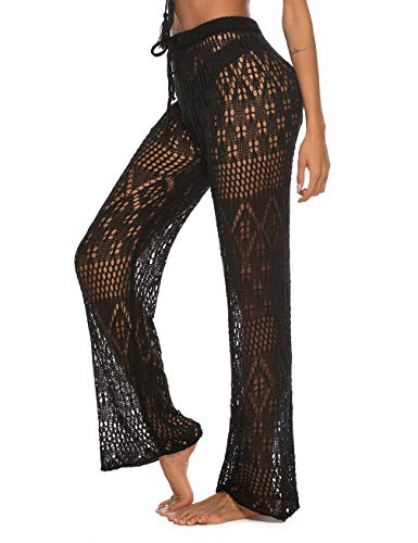 Sexy Ups Beach Cover - Kistore Womens Crochet Swim Coverup Pants Lounge Wear Long Mesh Lace Pants Cover Up Swimwear