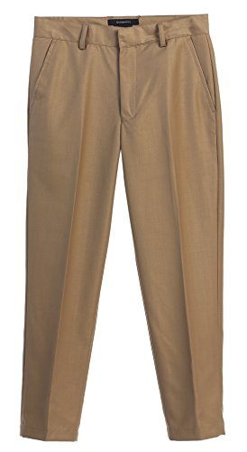 Gioberti Boys Flat Front Dress Pants, Khaki C, 14