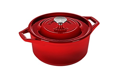 (Swiss Diamond PC1225cR Enameled Cast Round Casserole 5 quart Rubis Rouge, Rubis Rouge, 9.75