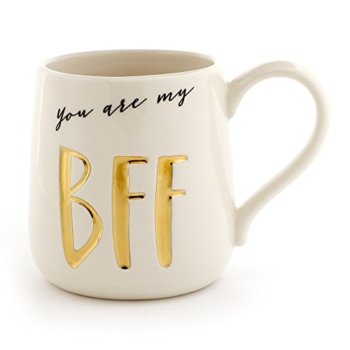 "Enesco 6000523 Our Name Is Mud ""Bff"" Stoneware Engraved Coffee Mug, 16 oz, Gold - Friendship Cup"