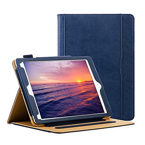 HLHGR Leather Case for iPad 9.7 Inch 6th/5th Generation 2018/2017 iPad Case Corner Protection Folding Stand Folio Cover with Pencil Holder Auto Wake/Sleep Blue