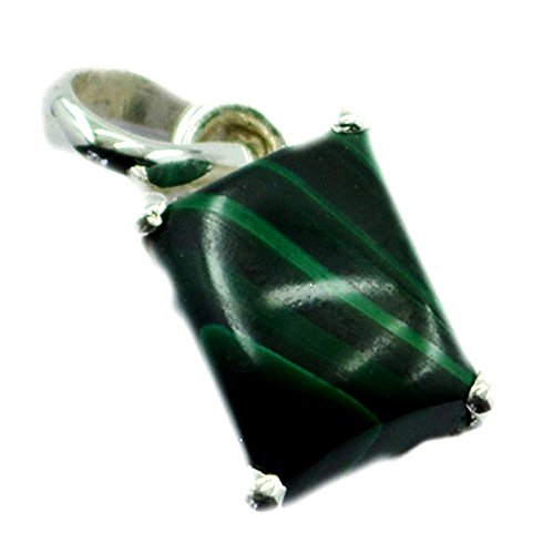 Caratyogi Natural Malachite Pendant Sterling Silver Square Stone Prong Style Charms Gift Handmade Jewelry