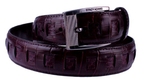 Stacy Adams 6-164 Croco Embossed and Snake Skin Woven Leather Mens Belt, Nickel Polished Buckle (36, Wine)