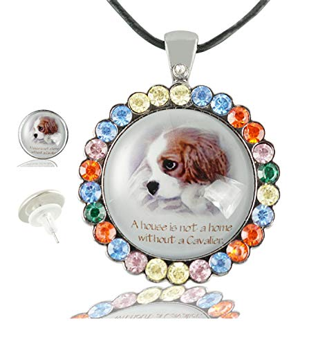 Baoquan Cavalier King Charles Spaniel Custom Fashion Color Crystal Pendant Glass Necklace Stud Earrings Set Gun -