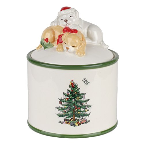 Spode Christmas Tree Puppy Candy Jar (Giftware 5.5 Inch Candy Dish)