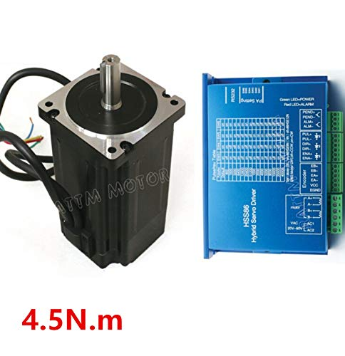 Nema34 4.5N.m Closed Loop Servo Motor Stepper motor 82mm 6A 2 Phase & HSS86 Hybrid Servo Driver Controller CNC Kit for CNC Router Engraving Milling Machine ()