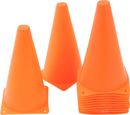 Plastic Cone Sports Training Gear, Pack of 12 (Orange, 9-Inch)