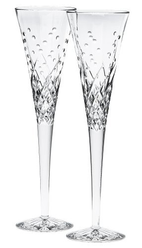 Waterford Happy Celebrations Crystal Flute Glasses, Set of 2 ()