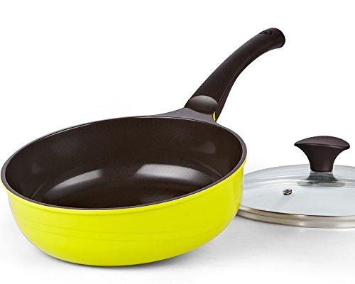 cook n home nonstick ceramic coating fry pan with lid 3. Black Bedroom Furniture Sets. Home Design Ideas