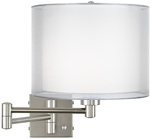 Double Sheer Silver Brushed Steel Swing Arm Wall Lamp (Double Sconce Transitional Wall)