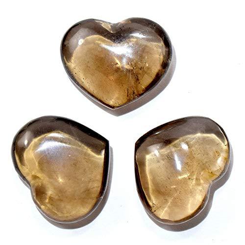 26mm Smoky Quartz Puffy Heart Polished Natural Sparkling Brown Gemstone Crystal Mineral Specimen - China (1PC)