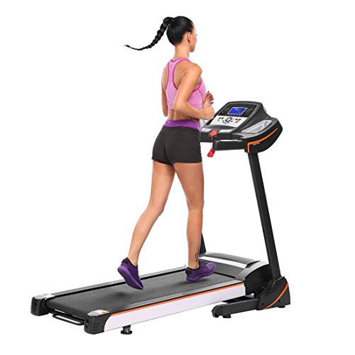 "Folding Fitness Treadmill Electric with Wheels and 7"" WiFi LED Display Screen Walking Running Equipment for Home/Office Cardio Training Exercise Gym Machine"
