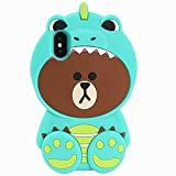 Green Dinosaur Bear iPhone X Case, iPhone 10 Silicone 3D Cartoon Animal Cover, Kids Girls Teens Cute Gift Kawaii Fun Soft Rubber Unique Character Fashion Cool Lovely Skin Back Protector for iPhoneX