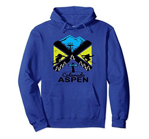 Unisex Aspen ski hoodie - skiing & snowboard accessories 2XL Royal (Aspen Ski And Snowboard)