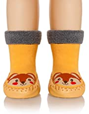 Baby Boy Girls Soft Warm Toddlers Moccasins Non-Skid Indoor Winter House Slipper Shoes Socks