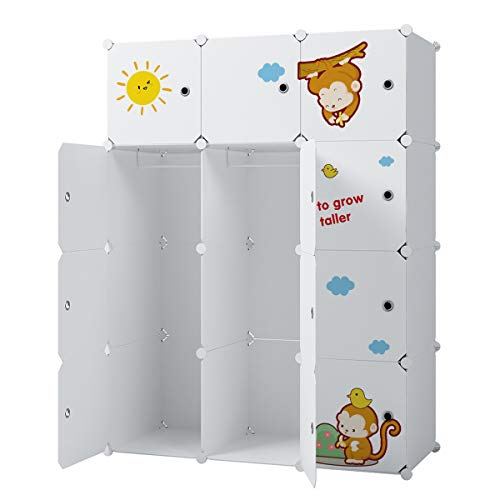 KOUSI Kids Dresser Kids Closet Portable Closet Wardrobe Children Bedroom Armoire Clothes Storage Cube Organizer, White with Cute Animal Door, Safety & Large & Sturdy, 6 Cubes & 2 Hanging Sections ()