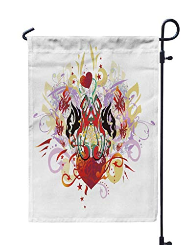 HerysTa Spring Garden Flag, Decorative Yard Farmhouse Holiday Banner 12 x 18 inches Grunge Double Eagle Heart Splashes Tribal Eagles Heads Open Wings Against Red Double-Sided Seasonal Garden Flags