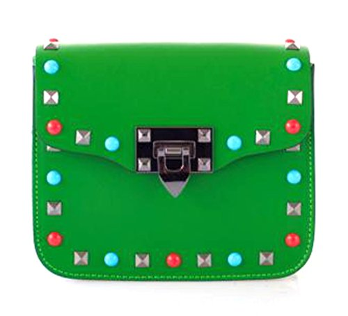 SUPERFLYBAGS Borsa Pochette Donna Vera Pelle con Borchie colorate + tracolla fashion modello Rodi Made In Italy Verde