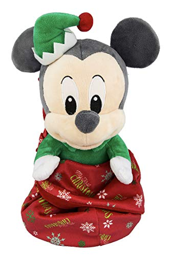 Disney Mickey Mouse Doll (Disney Parks Christmas Holiday Mickey Mouse in a Pouch Blanket Plush Doll)