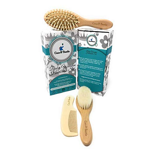 Coco & Beetle Baby Brush Set - Gift for Baby Girl or Boy Newborn to Over 1year - Wooden Brushes - Soft Goat Hairs - Massage Bristles on Silicone Base - Hair Detangler, Soothes Scalp, Helps Cradle Cap