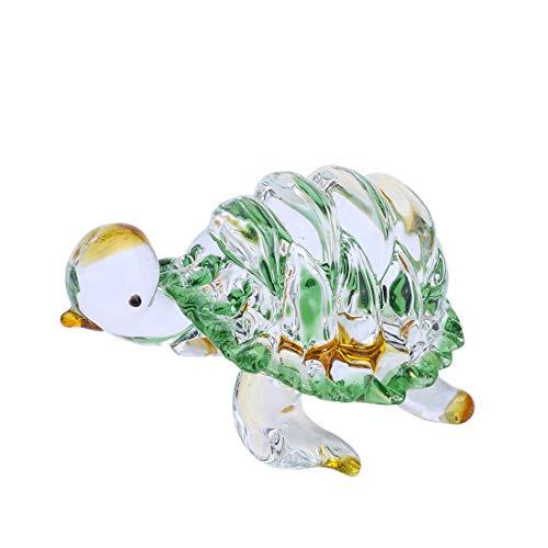 Qf Glass Figurine Handmade Blown Crystal Turtle Cute Animal Decor LIULI Paperweight, Crystal Sculpture
