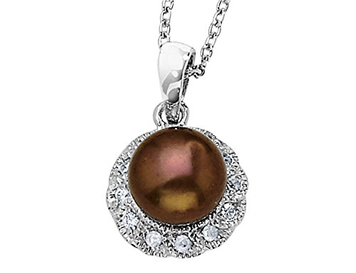 Gem And Harmony Cheryl M. Chocolate Freshwater Cultured Pearl Pendant Necklace in Sterling Silver with Synthetic Cubic Zirconia ()