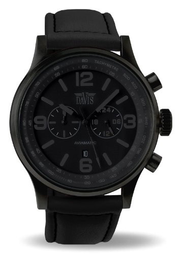 Davis 1278 - Reloj hombre aviador negro phantom 48mm, cronógrafo sumergible 50M, correa lorica negro