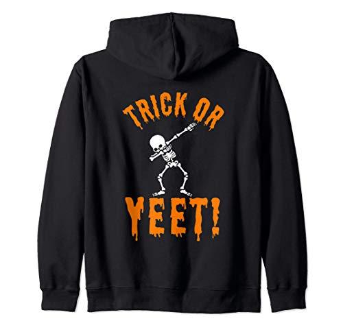 Halloween Trick Yeet Quote Dabbing Skeleton Clip Art Funny Zip Hoodie