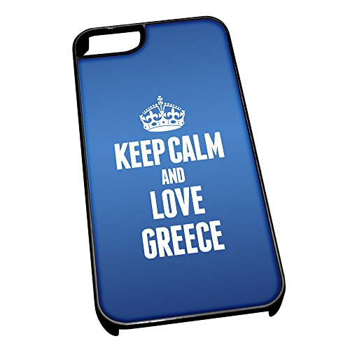 Nero cover per iPhone 5/5S, blu 2198 Keep Calm and Love Grecia