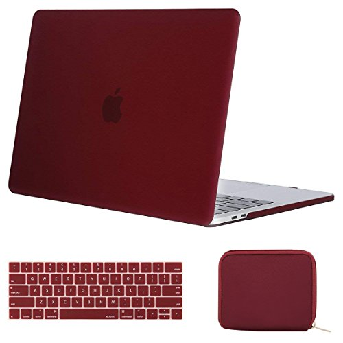 MOSISO MacBook Pro 13 inch Case 2019 2018 2017 2016 Release A2159 A1989 A1706 A1708, Plastic Hard Shell Case & Keyboard Cover & Water Repellent Storage Bag Compatible with MacBook Pro 13, Marsala Red (Red Macbook Pro Sleeve)