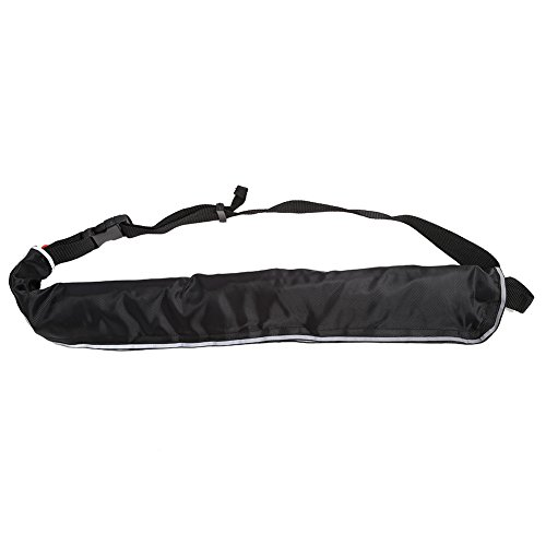 VGEBY Portable Inflatable Lifejacket Waist Belt With Reflective Tapes and Whistle for Fishing Swimming (Color : Black)