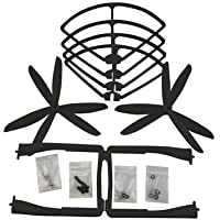 UUMART Propeller+Prop Guard+Landing Skid for Syma X8C X8W X8G X8HW RC Quadcopter Spare Parts Upgrade 3-Blade Propeller-Black