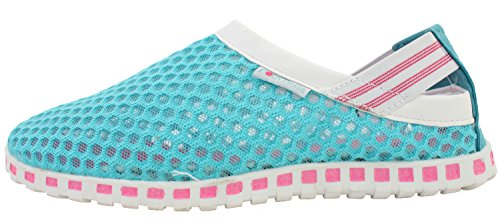 VOVOshoes Womens Summer Mesh Athletic Aqua Water Pool Beach Shoes Blue+pink 2JVGZ