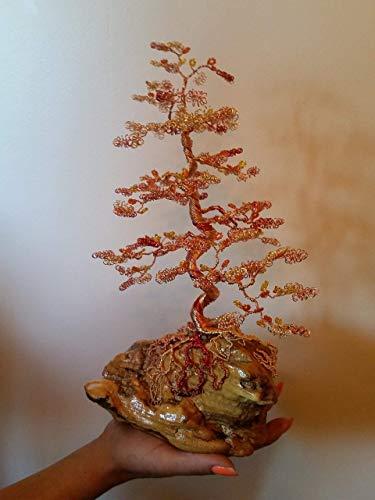 Home Decor Beaded Wire Tree Bonsai - Orange, Yellow Glass Beads & Copper Wire on ()