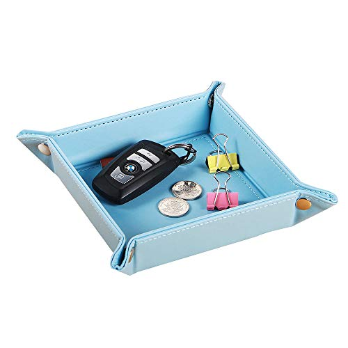 YAPISHI Mens Valet Tray Organizer for Nightstand Dresser, Leather Key Dish for Change Wallet Jewelry Dice Coin Watch, Travel Catchall Bowl (Blue)