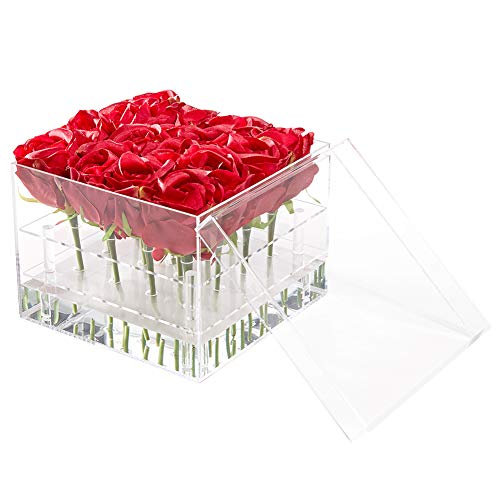 Flower Box Water Holder, Acrylic Rose Pots Stand - Decorative Square Vase with Removable 2 Tiers - Valentine's Day/Mother's Day/Birthday Gift, 16 Holes ()