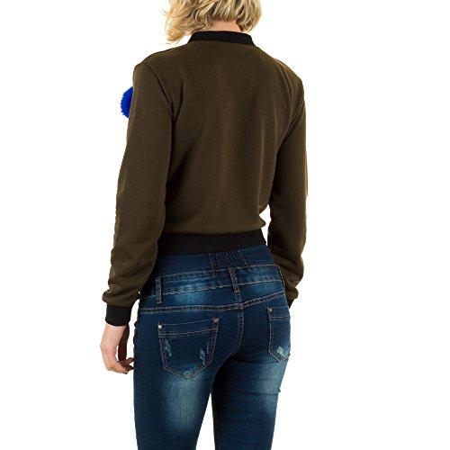 Sweat Bomber Sweatjacke Für Damen , Khaki In Gr. M bei Ital-Design