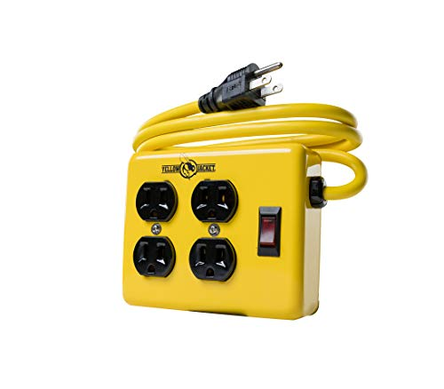 Wood Workshop Outdoor Garden - Yellow Jacket 2177N Metal Power Supply Adapter Block with 4 Outlets And Lighted Switch, 4-foot Cord